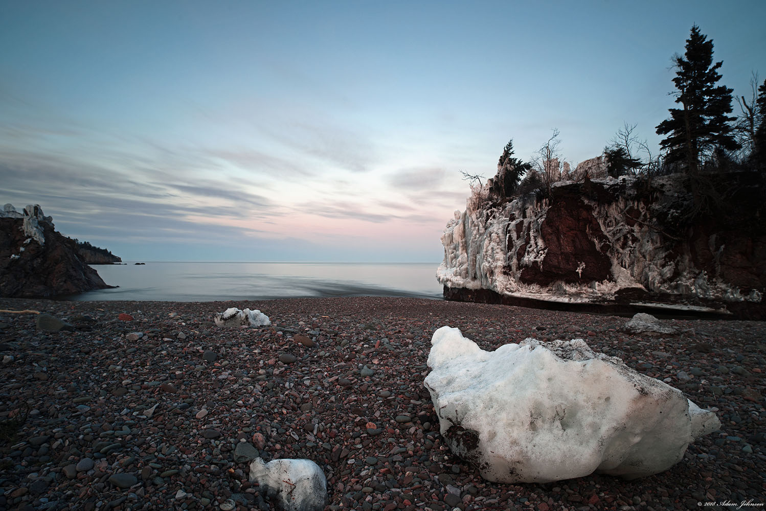 Ice on the beach at the mouth of the Baptism River following a two-day spring snow storm - Tettegouche State Park