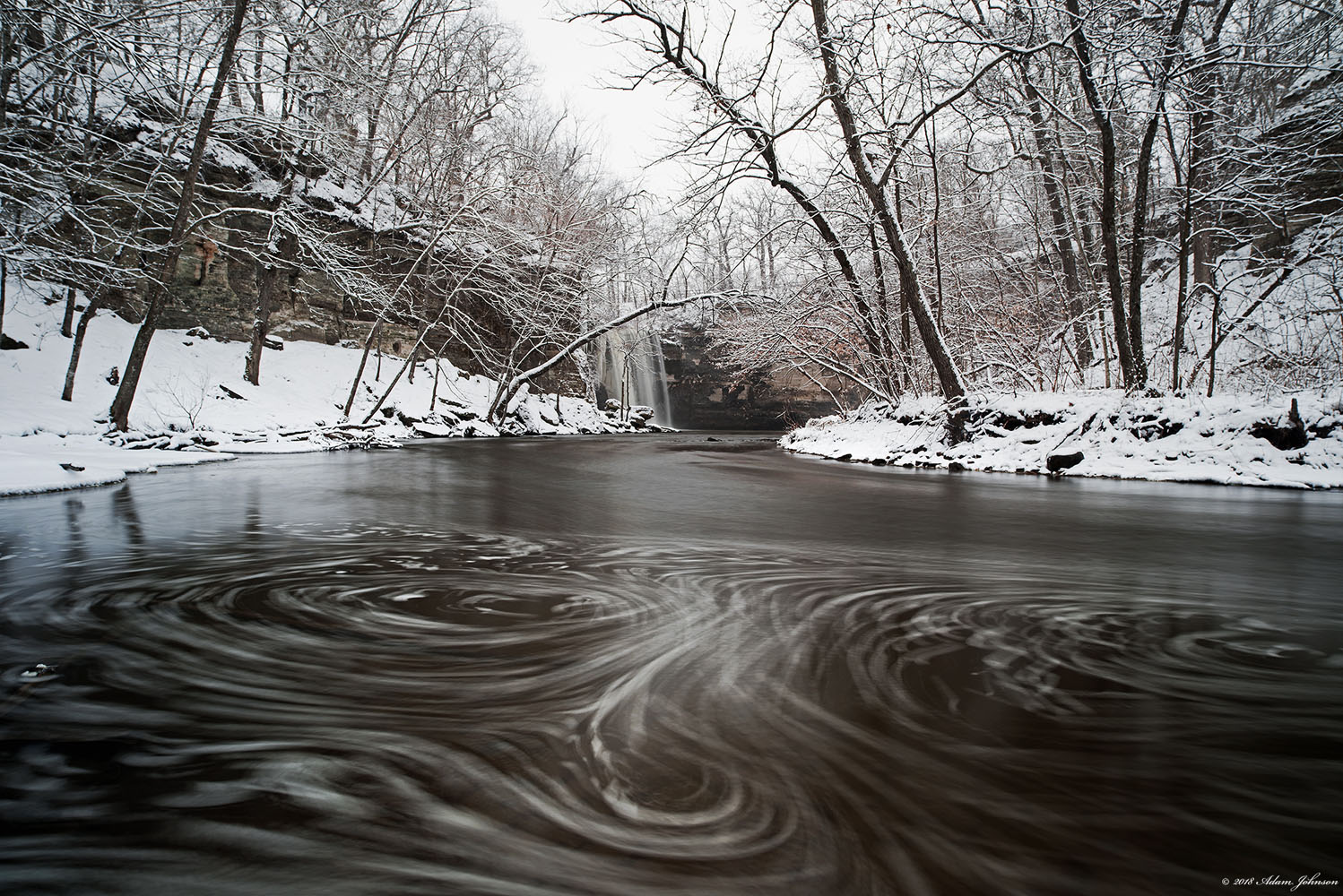Long exposure of the current in Minneopa creek during winter snow storm | Minneopa State Park