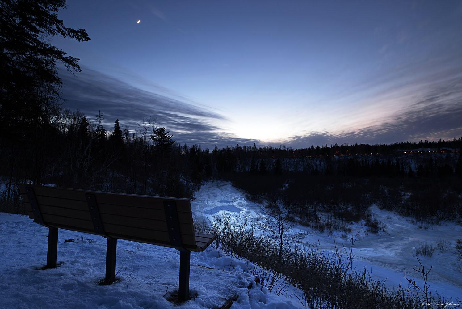 Overlook with crescent moon on a warm January night | Gooseberry Falls State Park